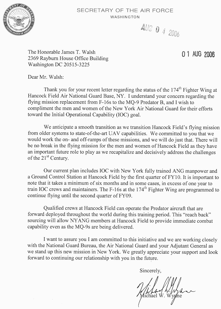 Wonderful Letter From Michael Wynne (Secretary Of The Air Force) To Walsh, ...